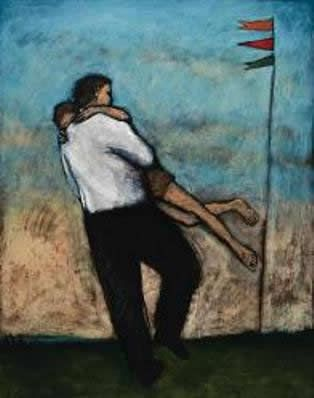 Father Son Dancing with Banners by Brian Kershisnik.
